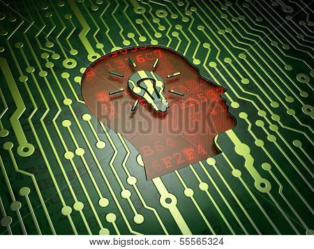 Marketing concept: Head With Light Bulb on circuit board