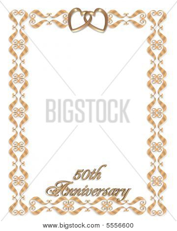 50Th Wedding Anniversary Gold Border Stock photo
