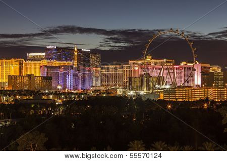 LAS VEGAS, NEVADA - November 28:  Dusk view of brightly lit resorts on the strip. Vegas has 149,820 hotel rooms with a average daily rate of $115 on November 28, 2013 in Las Vegas, Nevada.