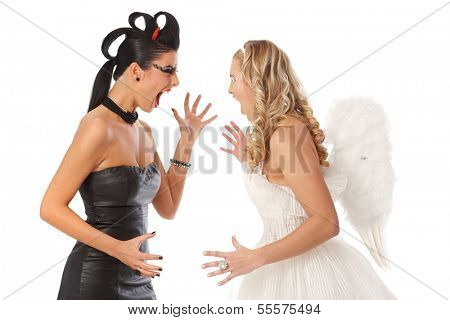 Devil and angel fighting, shouting at each other.