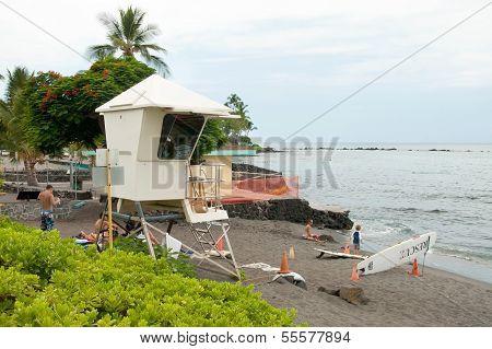 Lifeguard Tower On Kona Beach On Hawaii