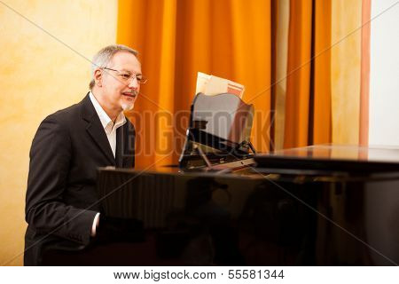 Man playing piano in a conservatory