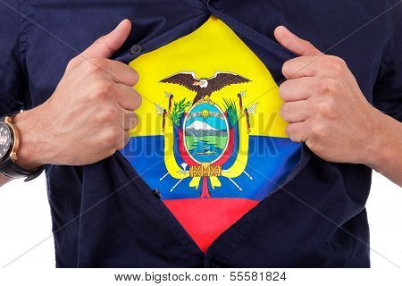 Young Sport Fan Opening His Shirt And Showing The Flag His Country Ecuador, Ecuadorian Flag