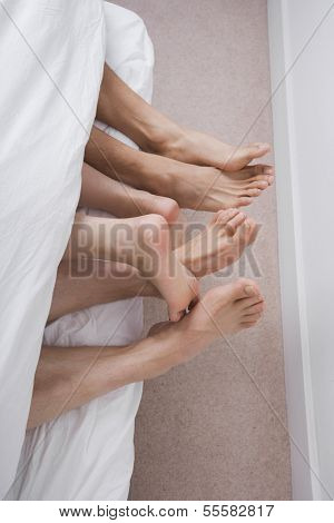 Low section of two men with woman in bed