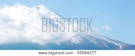 Panorama of Mountain Fuji fujisan from yamanaka lake at Yamanashi Japan