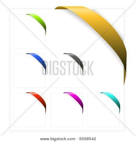 Set Of Empty Colorful Corner Ribbons