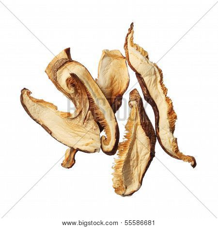 Pile Of Dried Shiitake Mushroom Slices Isolated On White Background