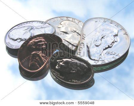 Shiny Old Us Coins Seen Skewed