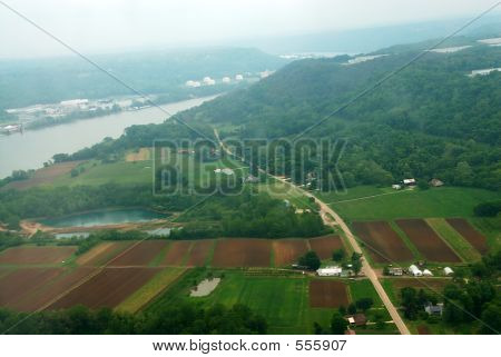 Farm Land Agriculture Arial View