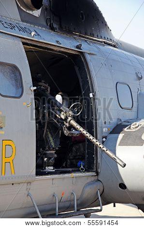 Puma Helicopter with machine gun, Malaga, Spain.
