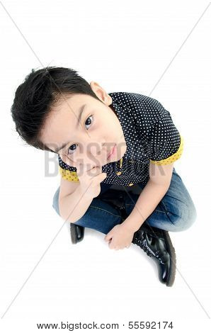 Cute Little Boy With Hat Isolate On White Background .