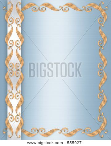 Wedding Invitation Border Gold On Blue Satin