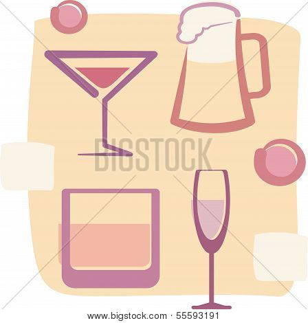 Retro Style illustration of Drinks