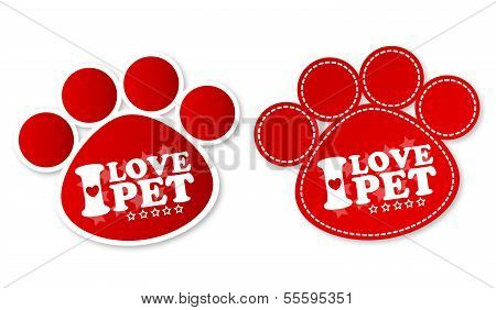 Paw print stickers with text I love pet and stars