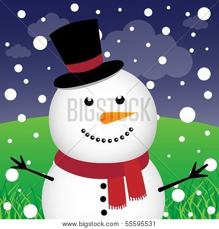 Snowman and snow in the forest