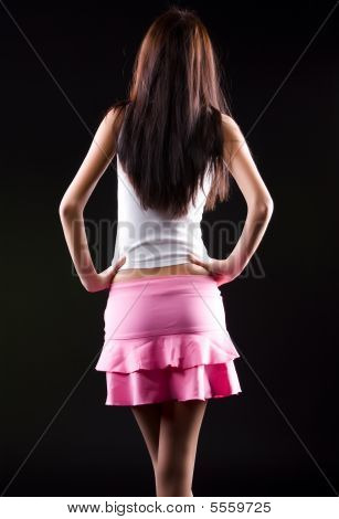 Young Slim Woman Backside View