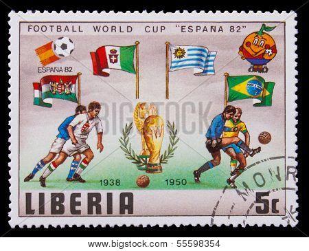 LIBERIA - CIRCA 1982: A post stamp printed LIBERIA, Brazil, Arge