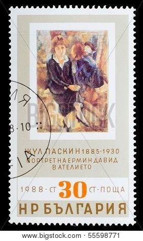 BULGARIA - CIRCA 1988: A stamp printed by BULGARIA, Jules Paskin
