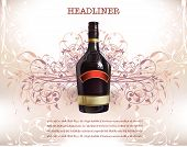 foto of budge  - background with realistic bottles of wine - JPG