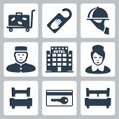 foto of receptionist  - Vector hotel icons set - JPG