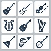 stock photo of banjo  - Vector isolated musical instruments over white - JPG