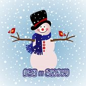 stock photo of snowbird  - Snowman with snow and bird friends - JPG