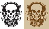 "stock photo of bacon  - Vector Illustration of skull and crossed bacon with the slogan, ""Death by Bacon"".
