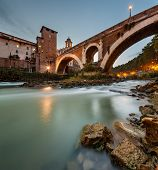 image of pon  - Fabricius Bridge and Tiber Island at Twilight Rome Italy. 