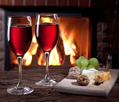image of brie cheese  - Romantic still life near the fireplace - JPG