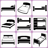 stock photo of motel  - 10 Various Bed Icons Set Vector Illustration - JPG