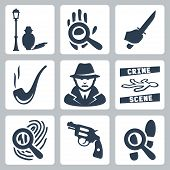 stock photo of sherlock  - Vector detective icons set - JPG