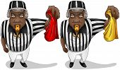 picture of referee  - A vector illustration of a football referee holding a red or yellow flag and whistles - JPG