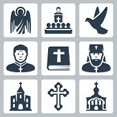 stock photo of minister  - Vector Christian religion icons set over white - JPG