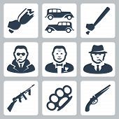 picture of brass knuckles  - Vector isolated mafia icons set over white - JPG