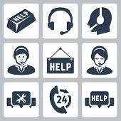 stock photo of telephone operator  - Vector support call center icons set over white - JPG