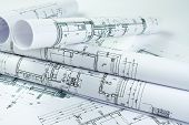 stock photo of blueprints  - Part of architectural project - JPG