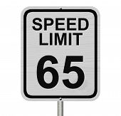 image of mph  - A white American road sign with words Speed Limit and 65 isolated over white Speed Limit 65 Sign - JPG