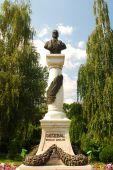 stock photo of decebal  - the decebal statue in drobeta turnu severin with blue sky behind