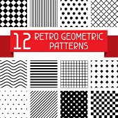 foto of diagonal lines  - Set of 12 retro geometric patterns - JPG