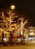 BADEN-BADEN, GERMANY  DECEMBER 11: CITY CHRISTMAS DECORATION. Historic center of Baden-Baden with Ch