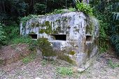 stock photo of emplacements  - Old British Army WWII Pill Box Gun Emplacement - JPG
