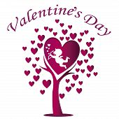 foto of cupid  - a beautiful tree with purple hearts and cupid celebrating valentine - JPG