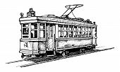 pic of tram  - Vector drawing of tram stylized as engraving - JPG