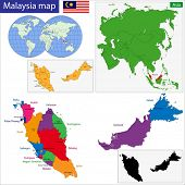 image of malaysia  - Map of Malaysia with the states colored in bright colors - JPG