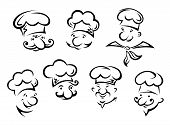 image of chef cap  - Cartoon portraits of funny chefs in sketch style - JPG