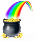 foto of coins  - Illustration of cauldron or a black pot full of gold coins at the end of a rainbow - JPG