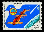 ������, ������: CUBA CIRCA 1982: A stamp printed in CUBA docking of spacecraf