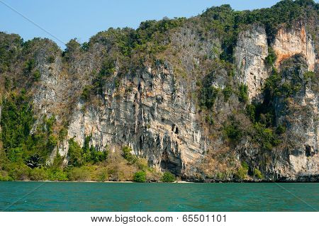 Karst Limestone Structure Of Tropical Island With Forest. Pranang Cave Beach, Railay, Krabi, Thailan