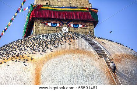 Man At Bodnath Stupa