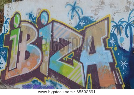 Ibiza sprayed writing on wall